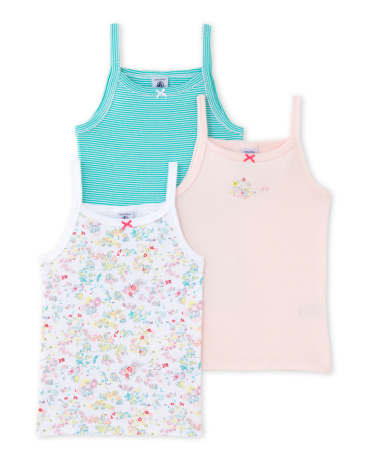Pack of 3 girl's strap vests