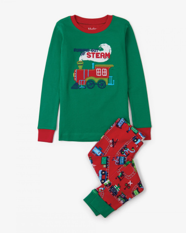Magical Christmas Train Appliqué Organic Cotton Pajama Set