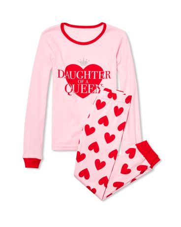 Girls Long Sleeve Glitter 'Daughter Of A Queen' Top And Heart Print Pants PJ Set