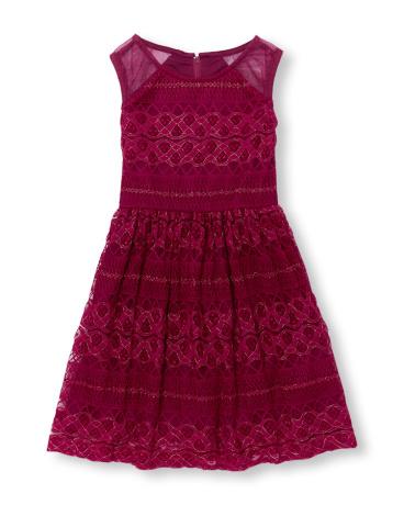 Girls Sleeveless Metallic Lace Dress