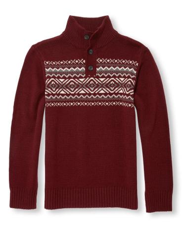 Boys Long Sleeve Fair Isle Button Mock Neck Sweater