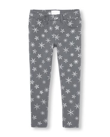 Girls Foil Snowflake Print Knit Jeggings
