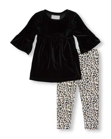 Toddler Girls Elbow Bell Sleeve Velour Top And Leopard Print Leggings Set
