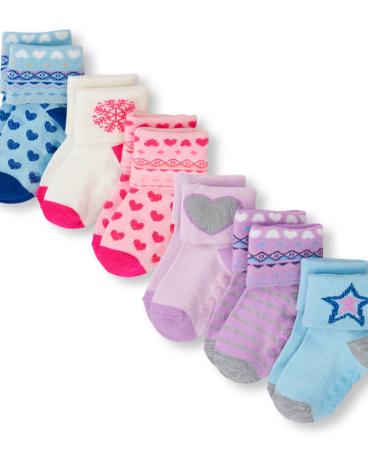 Toddler Girls Fair Isle And Mixed Print Turn-Cuff Socks 6-Pack