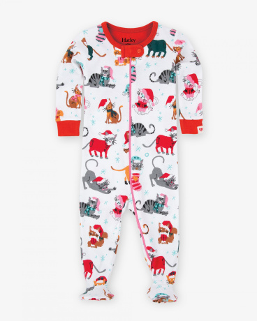 Holiday Cats Baby Footed Coverall