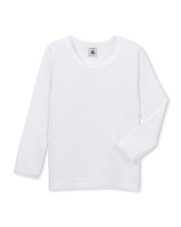 Girl's long-sleeved t-shirt with cocotte stitch finish