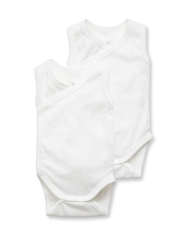 Pack of 2 unisex newborn baby plain sleeveless bodysuits