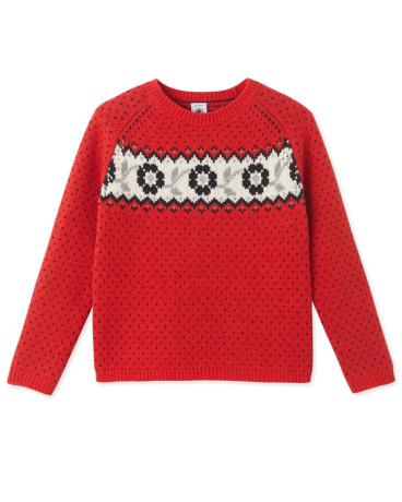 Girls' jacquard sweater
