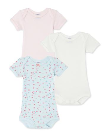 Set of 3 baby girl's polka dot and plain bodysuits