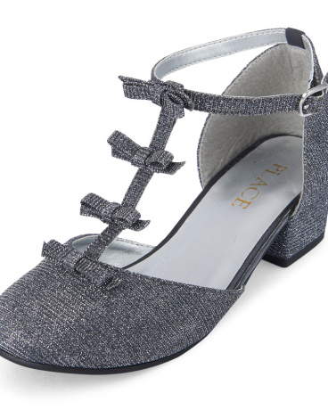 Girls Shimmer 3D Bow T-Strap Annie Mini Heel
