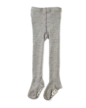 Silver Knit Metallic Footed Tights