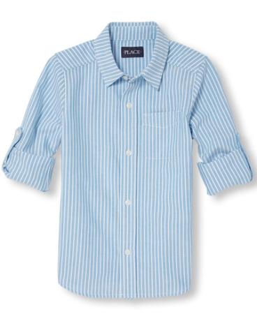 Boys Roll-Up Long Sleeve Stripe Oxford Button-Down Shirt