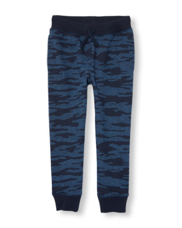 Boys Camo Print Fleece Jogger Pants