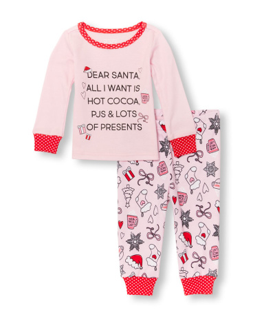 Baby And Toddler Girls Long Sleeve 'Dear Santa' Letter Top And Printed Pants PJ Set