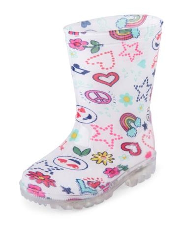 Toddler Girls Doodle Print Light-Up Rain Boot