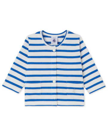 Baby girls' striped heavy jersey cardigan