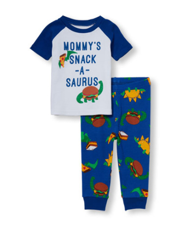 Baby And Toddler Boys Short Raglan Sleeve 'Mommy's Snack-A-Saurus' Top And Printed Pants PJ Set