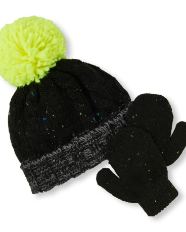Toddler Boys Flecked Cable Pom Pom Beanie And Mittens Set