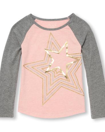 Girls Active Long Raglan Sleeve Embellished Graphic Top