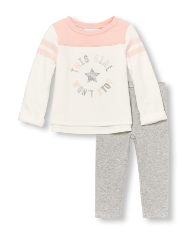Toddler Girls Long Striped Sleeve Embellished 'This Girl Won't Stop' Fleece Top And Leggings Set