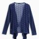 Girl Indigo Wrap Sweater with Lace Back