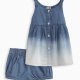 Baby Girl Bleach Denim Dress and Bloomer