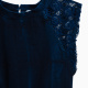Little Girl Indigo Brushed French Terry Romper with Lace