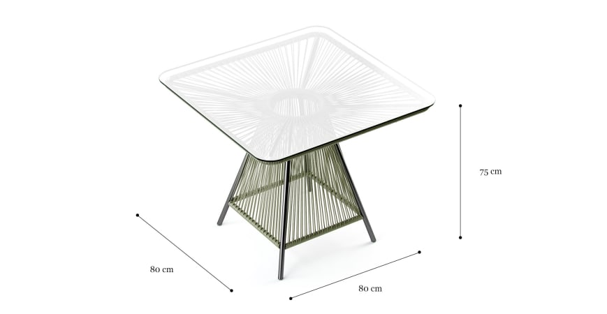 Lanzarote Glass Top Outdoor Dining Table