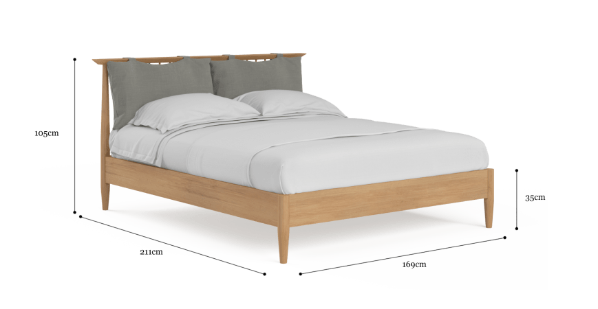 Ethan Queen Size Wooden Bed Frame with Cushion
