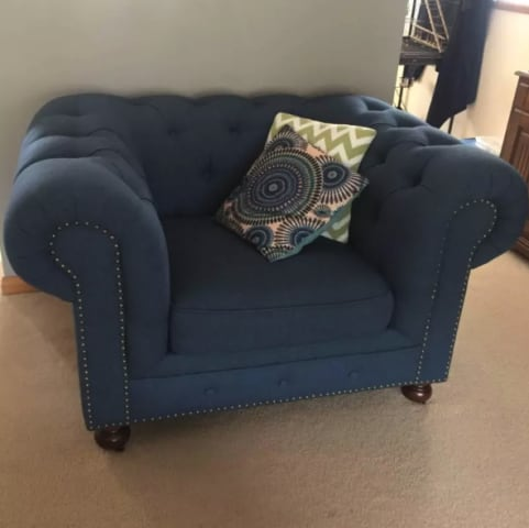Camden chesterfield armchair atlantic blue