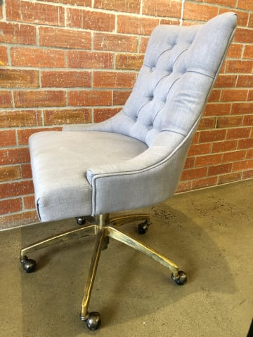 Espen office chair stone grey w brass 02