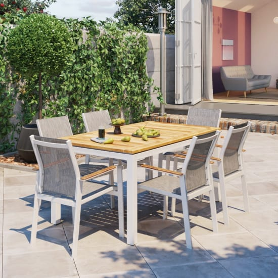 Malibu 6 seater teak outdoor dining set lifestyle 1 fotor