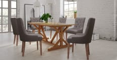 Dining Set Chablis Trestle Table 6x Espen® Scoop Chairs