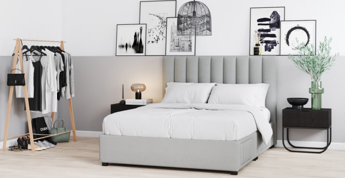 Megan King Size Upholstered Bed Frame with Drawers