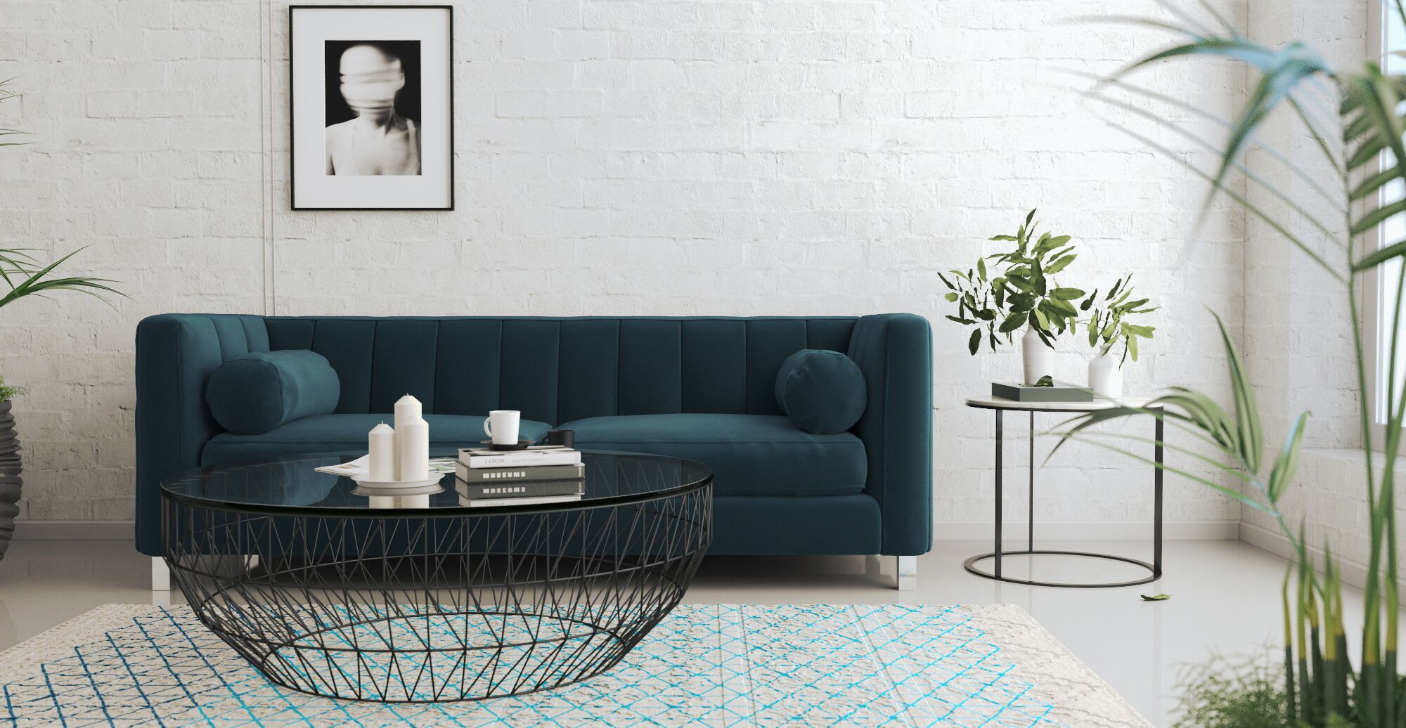 a mid century sofa in a designed space