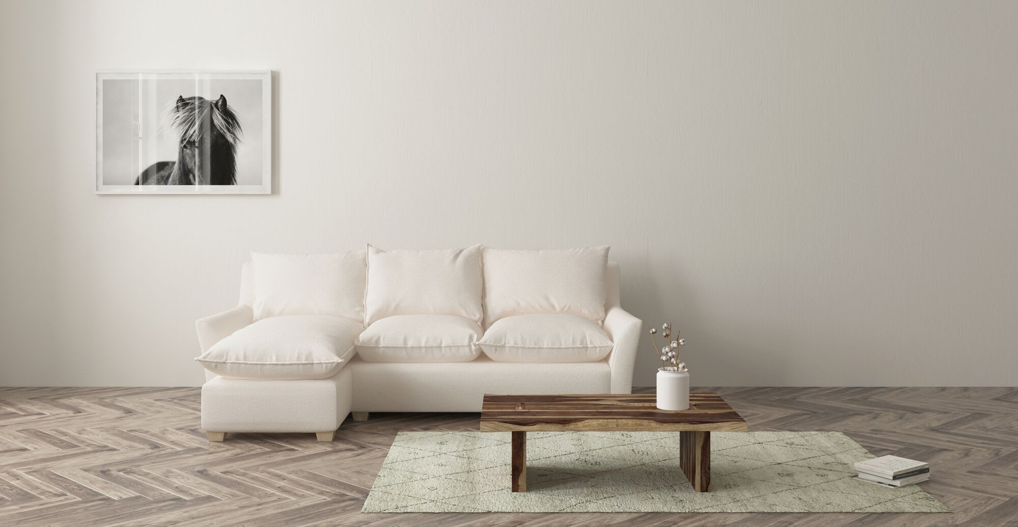 a white sofa in a designed space