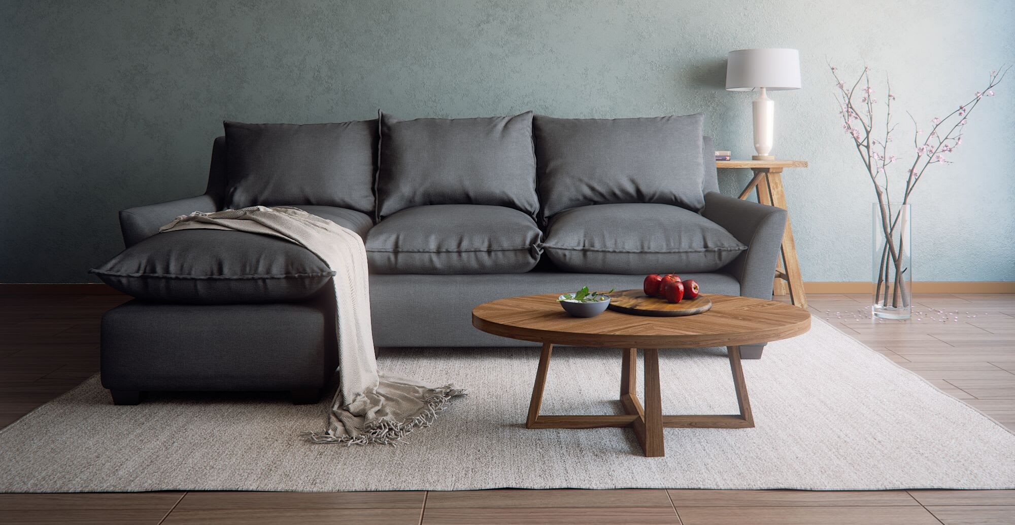 a L shaped sofa in a designed space