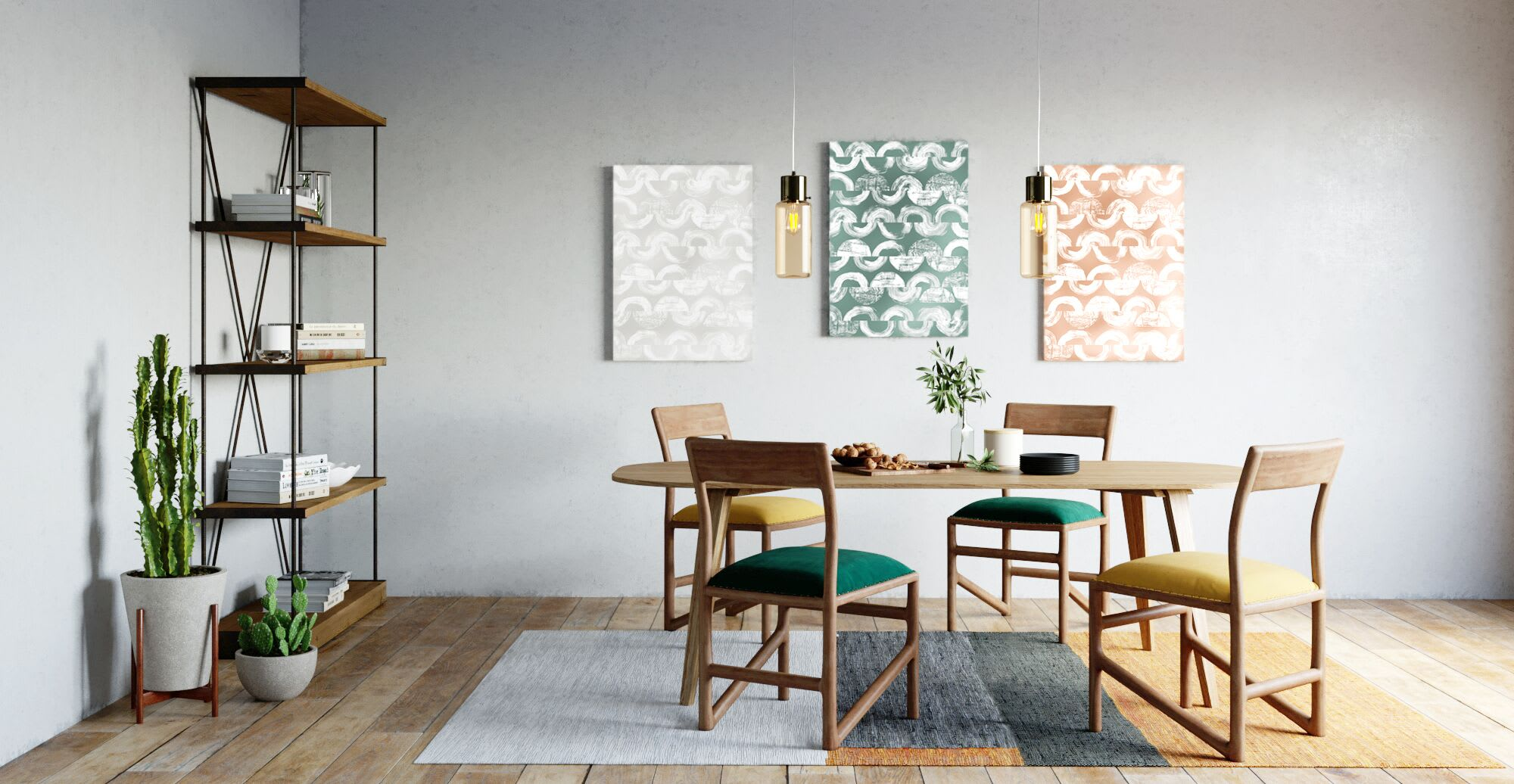 modern artwork hanging in a dining room