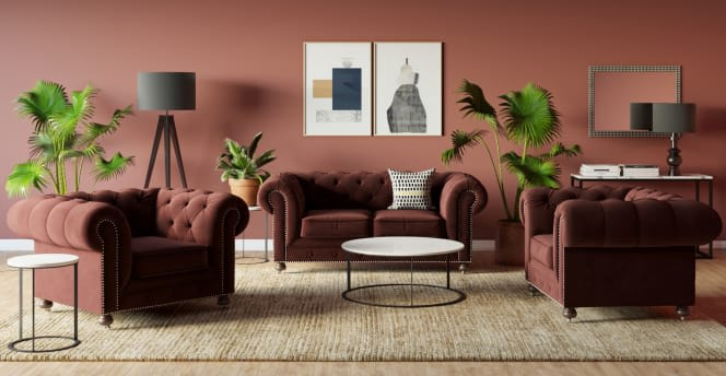 Notting Hill Velvet Chesterfield Sofa and armchair setting - contemporary sofas - living room