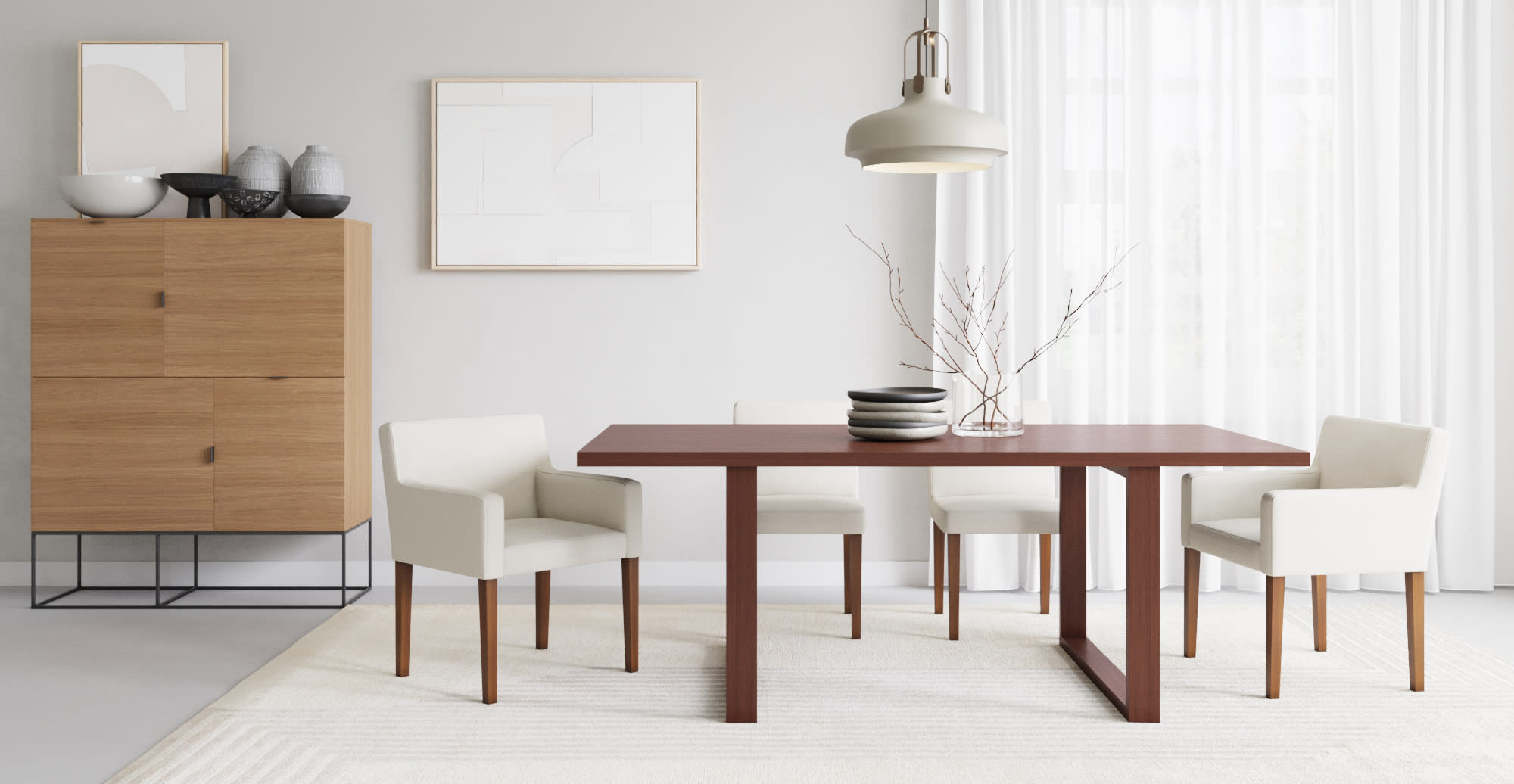 Platz dining room table with rug