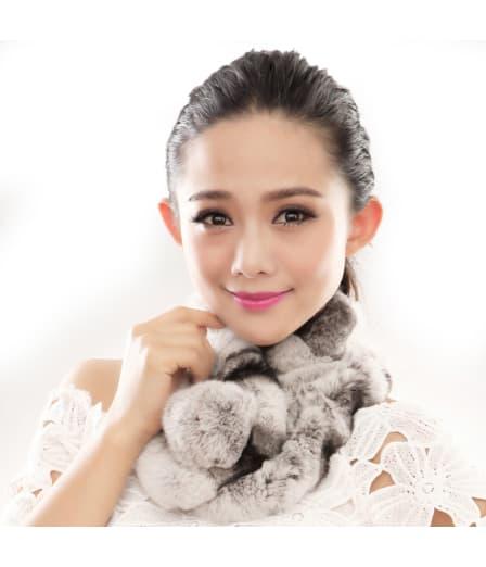 URSFUR  Warm Women's Rex Rabbit Fur Scarves Scarf Multicolor (Multicolor)