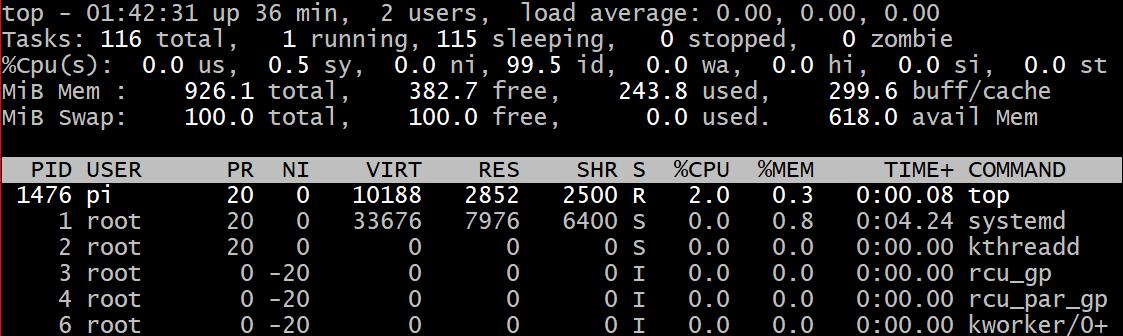 top -d commande command debian raspbian linux cpu use utilisation processeur