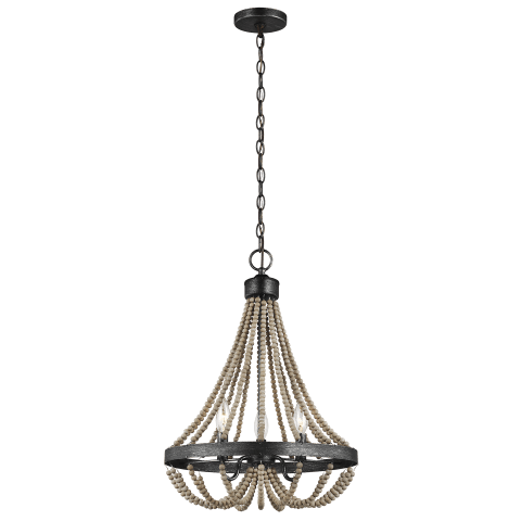 Oglesby Three Light Chandelier Washed Pine