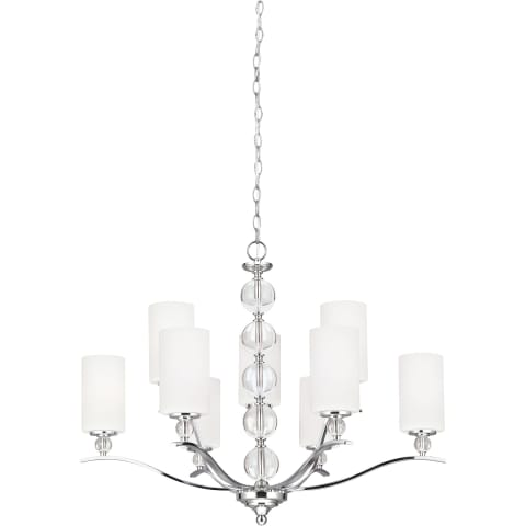 Englehorn Nine Light Chandelier Chrome