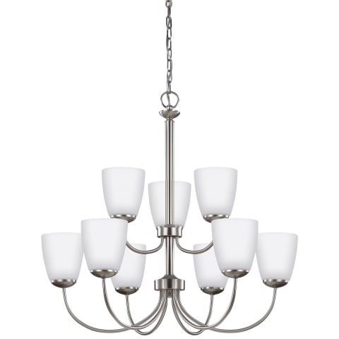 Bannock Nine Light Chandelier Brushed Nickel Bulbs Inc