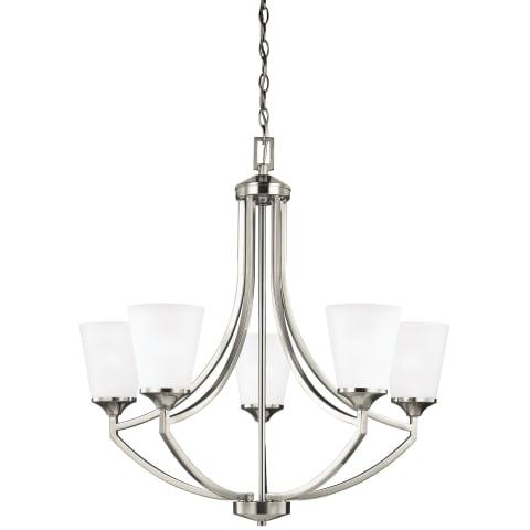 Hanford Five Light Chandelier Brushed Nickel Bulbs Inc