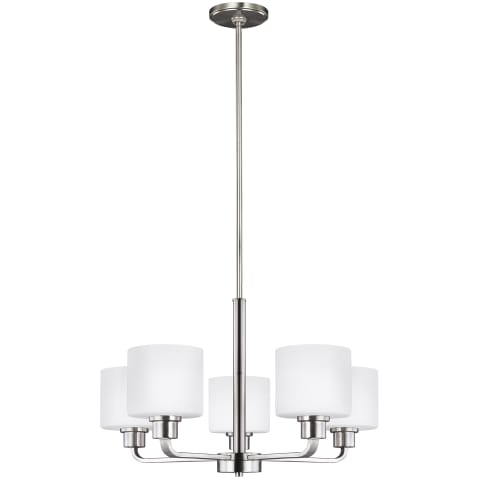 Canfield Five Light Chandelier Brushed Nickel