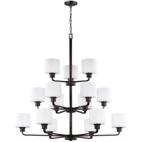 Canfield Fifteen Light Chandelier Bronze Bulbs Inc
