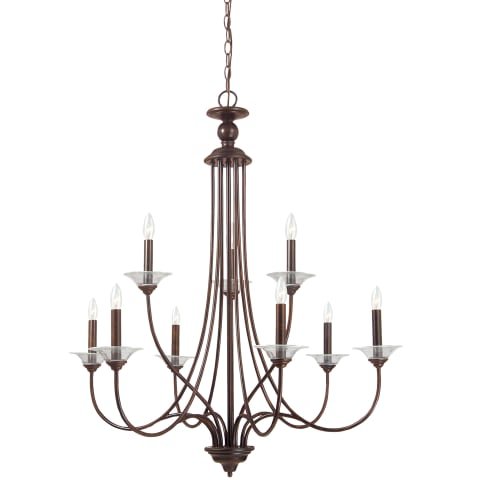 Lemont Nine Light Chandelier Burnt Sienna