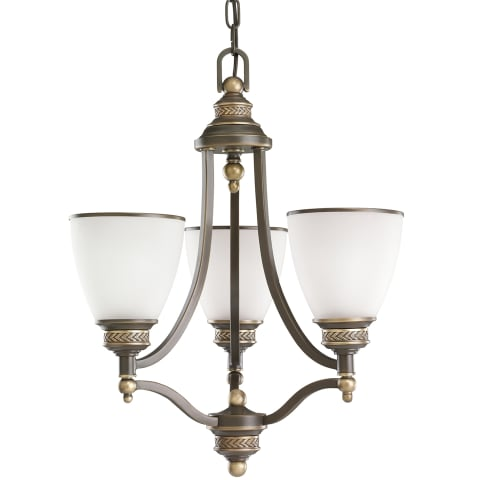 Laurel Leaf Three Light Chandelier Estate Bronze